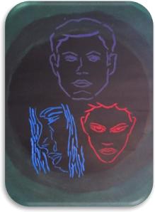Deep Violet Gouache, Acrylic Ceruleam Blue Hue and Carmine Red Gouache