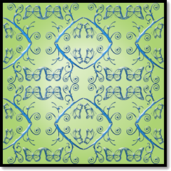 Sky blue design on pastel green